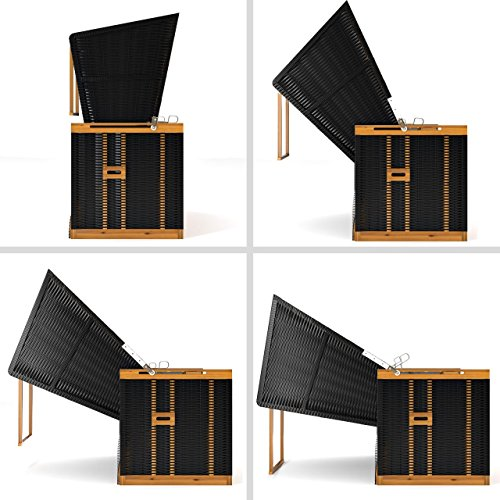 Sanzaro Strandkorb XL120 cm Deluxe Zweisitzer Holz und Poly-Rattan Volllieger 4 x Kissen klappbare Rückenlehne 2 Personen Grau Nadelstreifen - 4