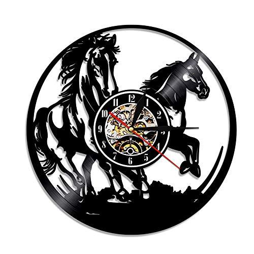 1-teilige Pferde -Beleuchtung Tiere Schallplatte Wanduhr Pferd Laser geätzte Fernbedienung Moderne Uhr-Keine