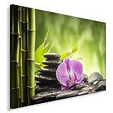 Feeby. Tableau Déco - 1 Partie - 30x40 cm, Impression sur Toile Décoration Murale Image Imprimée, ORCHIDÉE, Bambou, Zen, Nature, Vert