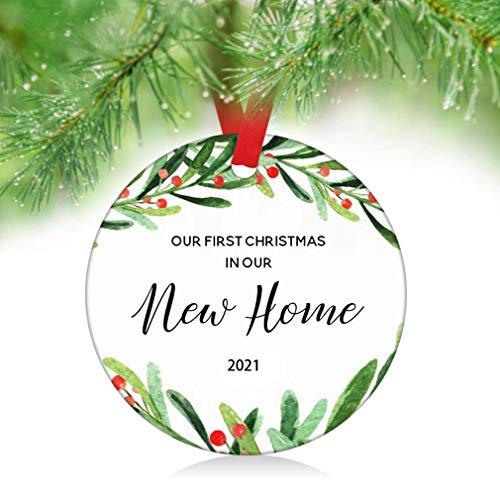 ZUNON Our First Christmas in Our New Home Ornaments 2021 New Couple Married Wedding Decoration 3' Ornament (New Home Ornament 1)