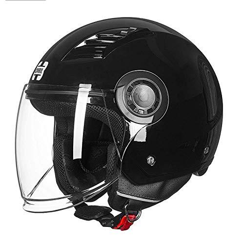Brillante negro adulto masculino y hembra Cinturón universal abierto Casco de motocicleta abierto para protección de seguridad Bicicleta Off-road Motorcycle ATV Cruiser Dot / Certificación de ECE,XL