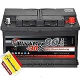 BlackMax Autobatterie 12V 80Ah Starterbatterie statt 72Ah 74Ah 75Ah 77Ah inklusive Polfett