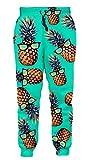 Goodstoworld Audlt Youth Girl Boy Sports Jogger Pants Hawaiian Beach Pineapple Green Loose Sweatpants Trouser Elastic Drawstring Tracksuit XXL