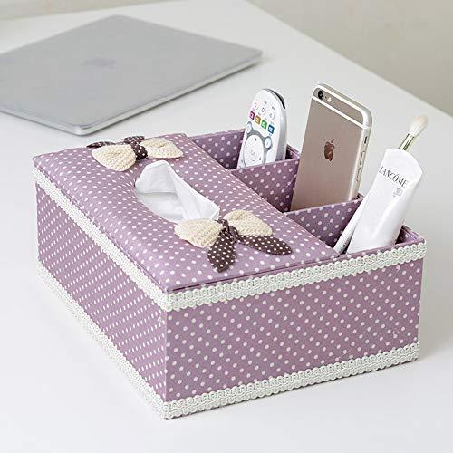 Kcakek Europese tissue doos opbergdoos creatieve woonkamer koffietafel multifunctionele afstandsbediening opbergdoos Desktop Storage Box multifunctionele Desktop Storage Box (Color : Purple)