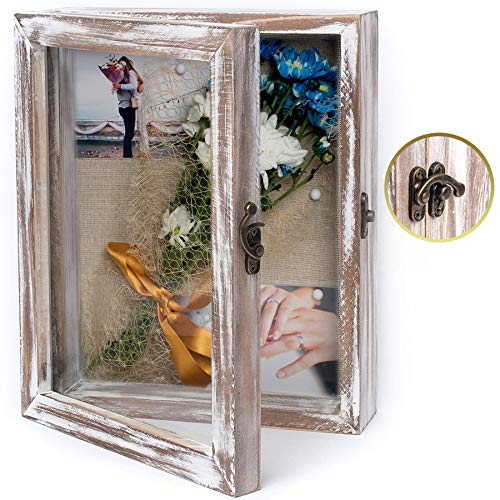 NIKOC Rustic White Shadow Box Display Case 8 X 10 Inch Wood Shadow Box Picture Frame with Linen Back...