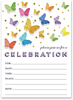 Rainbow Butterfly Invitations with Envelopes (Pack of 25) Any Occasion Large 5x7