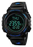 Men's Military Sports Digital Watch with Survival Compass 50M Waterproof Countdown 3 Alarm...