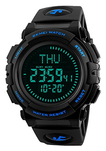 Men's Military Sports Digital Watch with Survival Compass 50M Waterproof Countdown 3 Alarm Stopwatch (Black) (Blue)