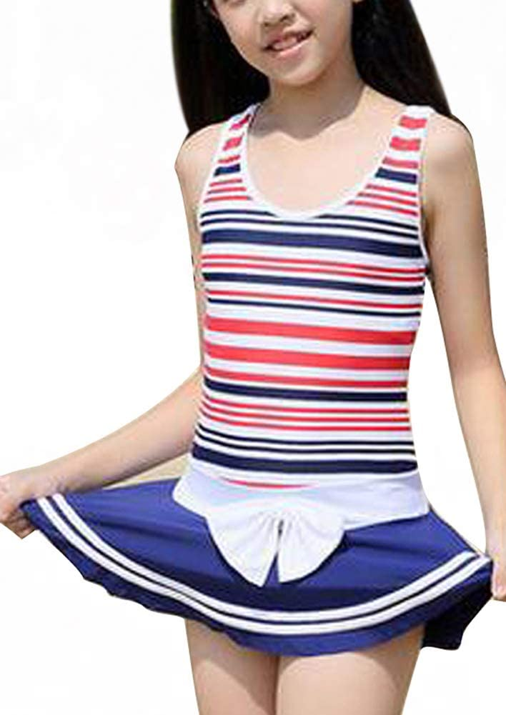 Tourequi Lovely Children's Stripes Princess one-Piece Swimsuit Girls Students Swimwear