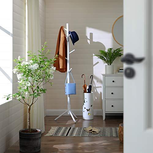 VASAGLE Garderobenständer, freistehender Kleiderständer, Garderobe aus Massivholz, in Baumform, mit 8 Haken, für Kleidung, Hüte, Taschen, Flur, Eingangsbereich, weiß RCR04WT