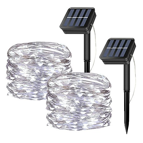 2 Pack Solar Fairy String Lights, 20 Meters/66ft 200 LED 8 Modes Copper Wire Starry Lights, Indoor/Outdoor Solar Lights for Christmas,Garden,Home,Patio,Wedding,Party-Cool White