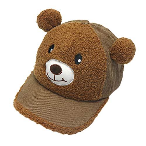 Vielone_Baby Toddler Boys Girls Lovely Fleece Bear Ear Baseball Cap 1-4T Cotton Sun Protection Trucker Hat UPF 50 Squeaky Gift for Kids Toys