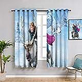 ZhiHdecor Frozen Elsa Cortinas para dormitorio 137 x 182 cm, cortinas opacas para ventana de dormitorio
