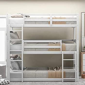 Bunk Beds Twin Over Twin Over Twin Size Triple Bunk Beds Low Profile for Kids No Box Spring Needed