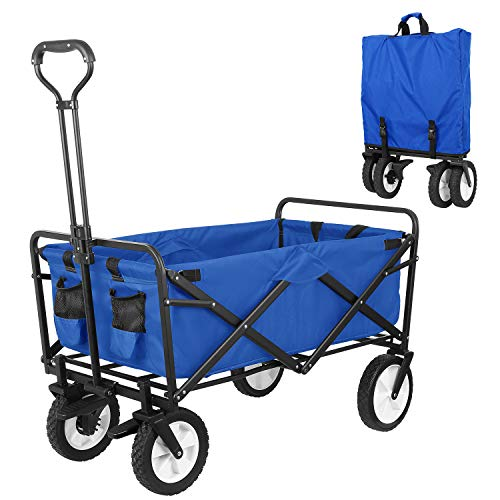 "HEMBOR Collapsible Outdoor Utility Wagon, Heavy Duty Folding Garden Portable Hand Cart, with 8"" Rubber Wheels and Brake Wheels, Adjustable Handles and Double Fabric, for Shopping,Picnic,Beach (Blue)"