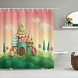 Duschvorhang Fantasy-Häuser aus Cupcakes Süßigkeiten Süßigkeiten in Grünland Kinder Kunstdruck wasserdichte Bad Liner Haken enthalten - Badezimmer dekorative Ideen