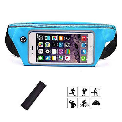 Kimswa Marsupio Sportivo Impermeabile Elastico Fascia Running Sport Porta Cellulare Dual Pocket Borsa a Donna Uomo Cintura da Corsa Tasche Telefono per iPhone Samsung Huawei Smartphone