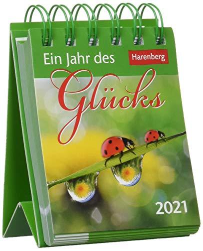 Ein Jahr des Glücks Mini-Geschenkkalender 2021 - Tagesabreißkalender zum Aufstellen - Tischkalender mit Zitaten, Aphorismen und Sprichwörtern - Format 8 x 10 cm