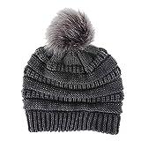 Gorro para mujer, con pompón de pelo sintético, cálido, tejido suave, elástico, térmico, con forro (gris oscuro)