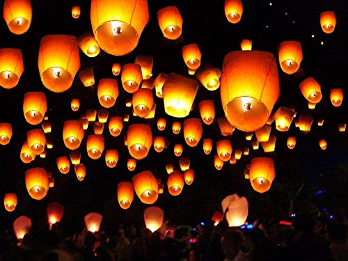 10/20/50/100pcs White Paper Chinese Lanterns Sky Fly Candle Lamp for Wish Party Wedding (20)