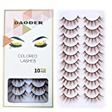 DAODER Colored Eyelashes 3D Mink Brown False Lashes Natural Look Wispy Fluffy Long Reusable Lashes Pack for Women 10 Pairs (Brown Lashes)