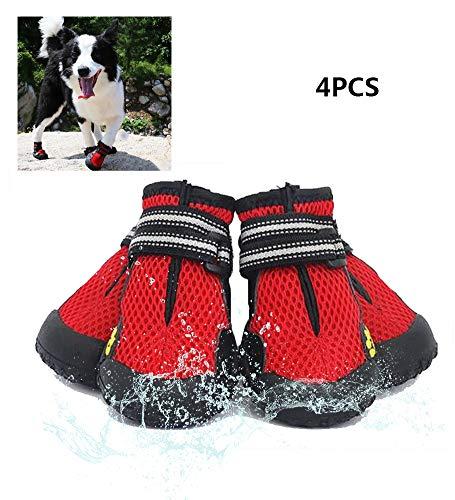 XYQCPJ 4pcs Chaussures Chien,RéSistance à l'eau Respirante Bottes De SéCurité Excellent Tissu De Maille Chaussures pour Animaux Chaussures De Sport RéFléChissantes