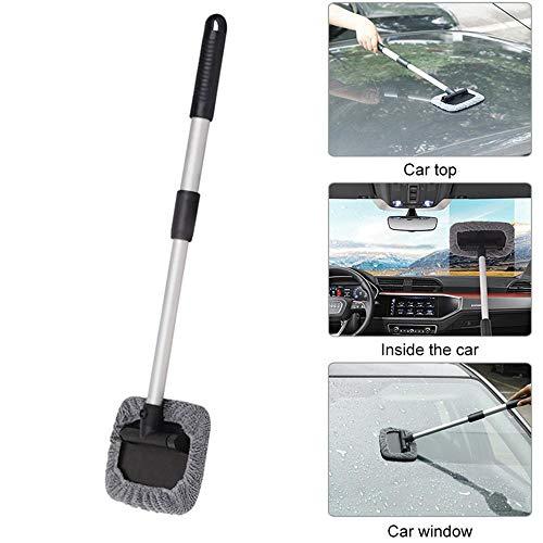 Volwco - Limpiaparabrisas de paño extensible para el parabrisas del coche con un diseño de mango telescópico de gran longitud para limpiar el interior y el exterior del coche