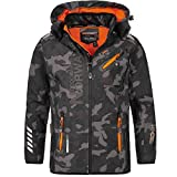 Geographical Norway Herren Softshell Outdoor Jacke Rainman Turbo-Dry Kapuze (M, Black/Orange)