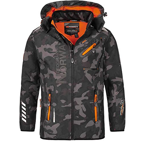 Geographical Norway - Chaqueta Rainman Turbo-Dry para hombre con tejido softshell y capucha negro y naranja S