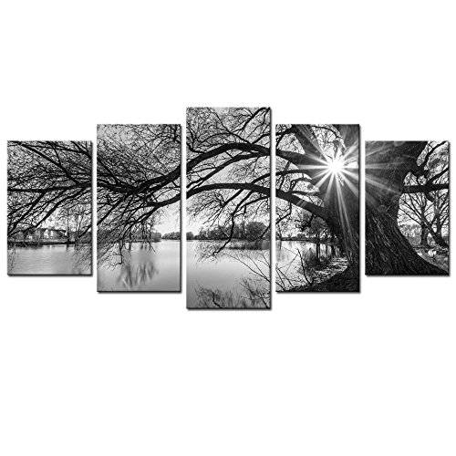 sechars - 5 Pieces Wall Art,Old Tree by Lake Picture Canvas Prints Sunrise Painting