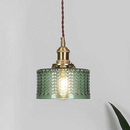 Lampe suspension industrielle vintage en verre écailleux HJXDtech, Lumière suspendue rétro E27 finition laiton, Plafonnier à paire torsadée flexible Loft Bar (Vert)