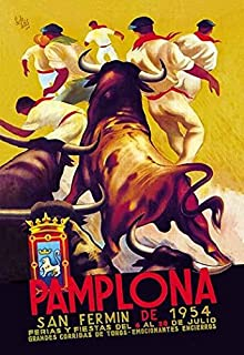 The famous running of the bulls in Pamplona Spain is announce on this 1954 festival poster showing the bulls and the runners in their traditional dress Poster Print by Lides Sotes (24 x 36)