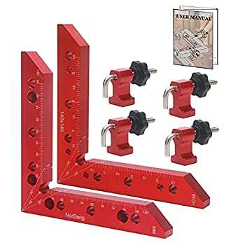NorBeng Aluminum Alloy 90 Degree Positioning Squares Right Angle Clamps Corner Clamp Carpenter Tool for Woodworking Picture Frame Box Cabinets Drawers 2pcs Squares 140mm/5.5  + 4sets Clamp Block