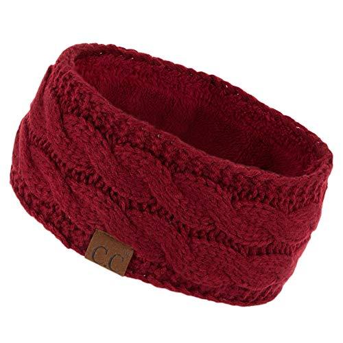 C.C Winter Fuzzy Fleece Lined Thick Knitted Headband Headwrap Earwarmer (HW-20) (Burgundy)