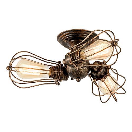 Vintage Deckenleuchte Industrielüster Verstellbare Steckdose Metalldrahtkäfig Halbschalenmontage Rustikale Deckenleuchte Leichtmetall-Leuchten (ohne Glühbirne) (mit 3 Licht) (Bronze)