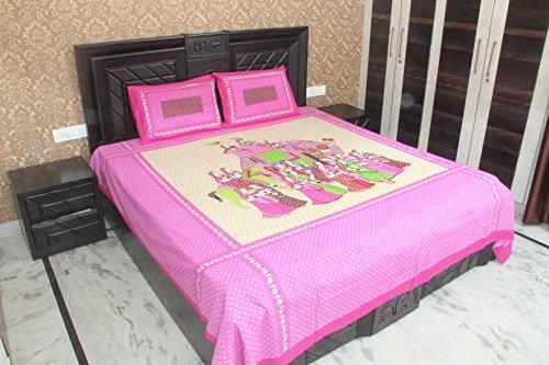 Kouber Industries Jaipuri Imprimé Lit avec 2 Taies d'Oreiller, King size Lit double Drap, 100% coton