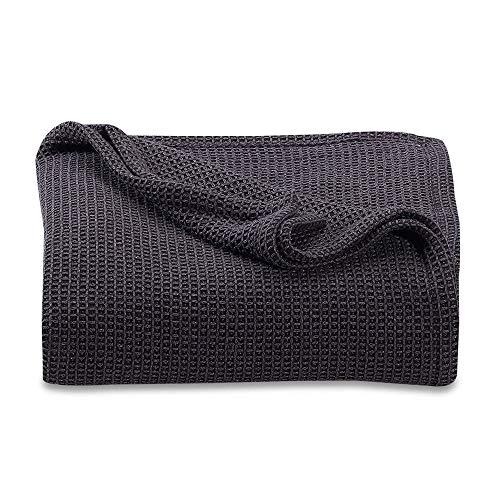 Cobertor/manta de algodão premium macio Homvare – respirável para todas as estações para cama, sofá e sofá, Lead, Queen, 1