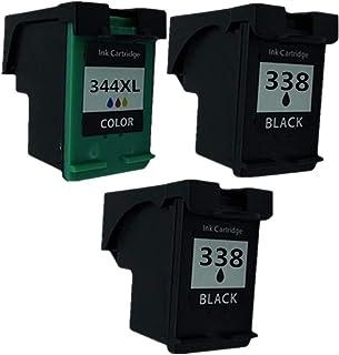Cartuchos de Tinta remanufacturados para HP 338 344 XL HP338 HP344 Officejet 100 L411a L411b 150 L511a H470 H470wbt H470wf K7100 K7103 K7108 PSC 2355, Color 2 Black + 1 Tri-Color