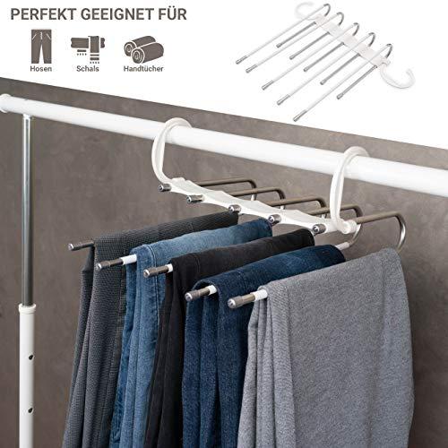 BUKSER Juego de 2 perchas prémium para pantalones que ahorran espacio, con múltiples tirantes extensibles de acero inoxidable, con revestimiento antideslizante en color blanco.