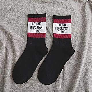 Socks Striped Letter Autumn Girl Casual Breathable Long Socks, Size:One Size(Black) Outdoor & Sports