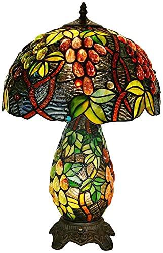 Lámpara de mesita antigua europea de 12 pulgadas lámpara de mesa de uva Tiffany hijo y lámpara de la lámpara lámpara de mesa.