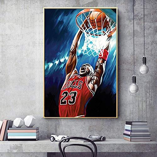 SADHAF Art Canvas Painting Basketball Jordan Portrait Posters en olieverfschilderijen muurschildering voor woonkamer thuisdecoratie 70X100cm (senza cornice) A6