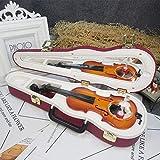 オルゴール 音楽ボックス オルゴール レトロ 装飾 誕生日 DIY 子供 プレゼント ミュージックボックス LCLJP (Color : Violin rose red, Size : フリー)