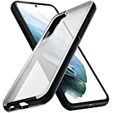 ykooe Shockproof Case for Samsung Galaxy S21 5G 6.2' Translucent Matte Hard PC Back with Soft Edges Anti-Scratches Independent Detachable Buttons Protective Cover, Black +Clear