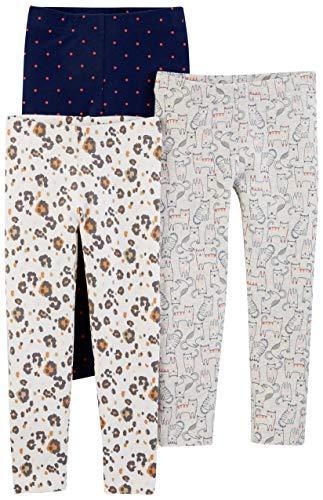 Simple Joys by Carter's Girls' Toddler 3-Pack Leggings, kitty/floral/dot, 4T
