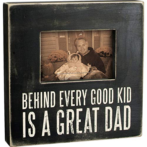 Primitives by Kathy Black and White Box Frame Photo Holder, Dad