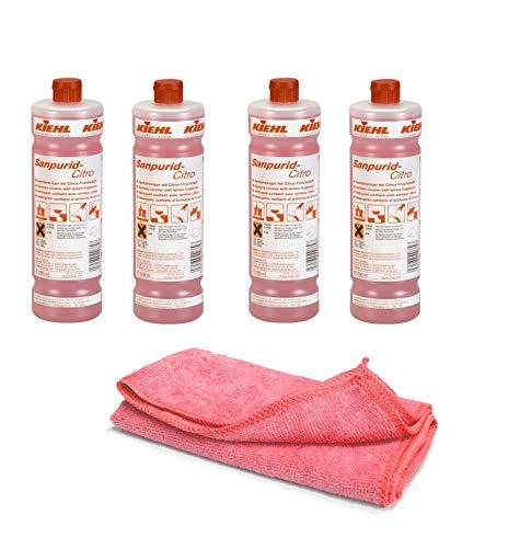 Sanitärreiniger - Kalklöser - Badreiniger - WC Entkalker - Urinsteinlöser - Pissoir Reinigungsmittel | mit Profi Mikrofasertuch rot (4 Flaschen=4 Liter)