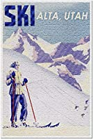 Alta Utah-スキー-女性スキー-ヴィンテージ旅行ポスター93507(米国製13x19の大人向けプレミアム500ピースジグソーパズル!)