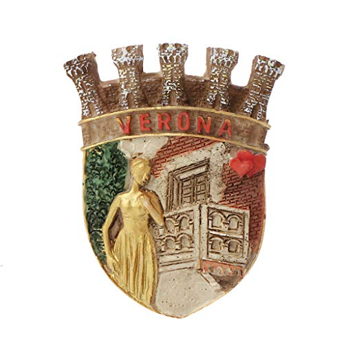 RK-HYTQWR 3D World Travel Italia Francia Roma Willis Resin Memorial Refrigerador Imán para Nevera Pegatina DIY Decoración para el hogar Soporte para Mensajes Souvenir, Verona Juliet Imán para Nevera