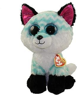 Claire's Girls TY Beanie Boo Medium Piper The Chevron Fox Plush Toy in White/Black